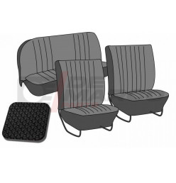Set seat covers ''basket weave'' black, for Sedan Super Beetle 1302 and Beetle from 08/1967 to 07/1972