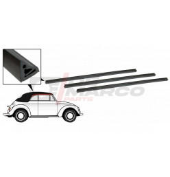 Seals between topframe and side windows 2 sides for Cabrio Beetle and Super Beetle 1302/1303 (Top Quality)