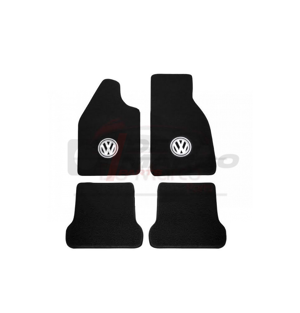 Black Carpet Set (4pcs) with cutting logo, for Beetle, Super Beetle, Buggy (Top Quality)