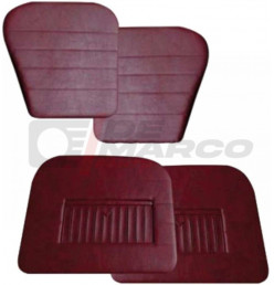 Set pannelli porte con tasche in vinile rosso bordeaux Renault Dauphine