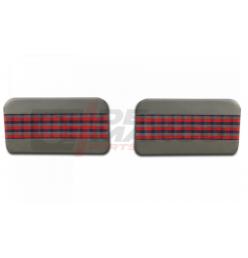 """Coppia pannelli porte anteriori """"scozzese"""" grigio-rosso-blu, Renault 4"""