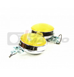 Pair yellow front fog lights chrome Ø 110 mm