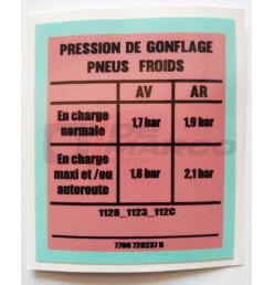 Sticker tire pressure Renault 4 845cc, 956cc, 1108cc