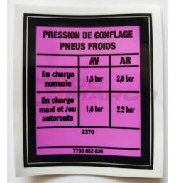Adesivo pressione pneumatici Renault 4 F6 (Furgonetta)